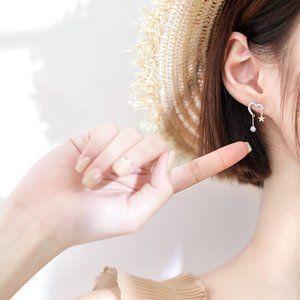 925 Sterling Silver Diamond Heart Star Earrings
